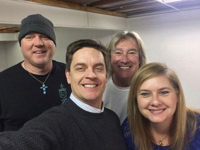 On set for TV pilot 'Rock and a Hard Place' with Jim Breuer, John Schlitt, and Rex Carroll.